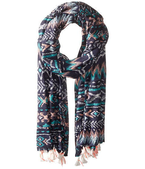San Diego Hat Company BSS1717 Woven Abstract All Over Print Scarf with Tassels - Navy