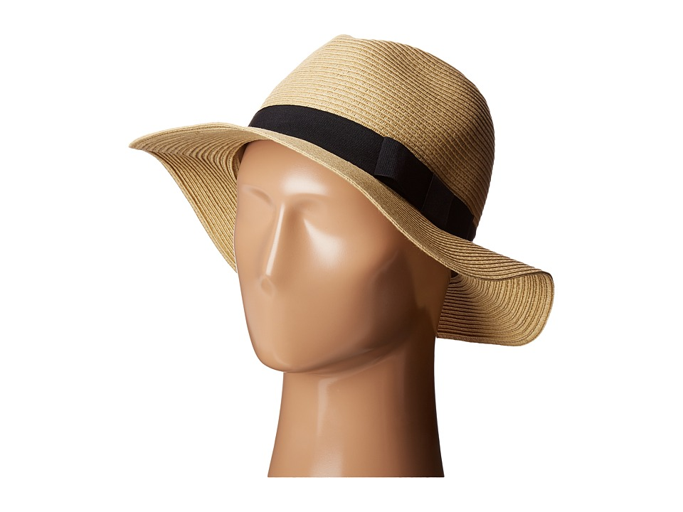San Diego Hat Company - UBF1016 Paper Braid Fedora Hat with Bow Brim (Natural) Fedora Hats