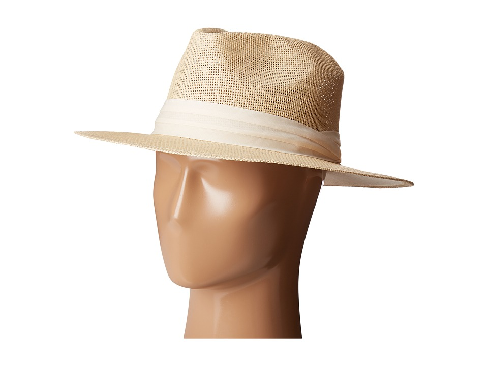 San Diego Hat Company - PBF7308 Woven Paper Fedora Hat with Twill Trim (Natural) Fedora Hats
