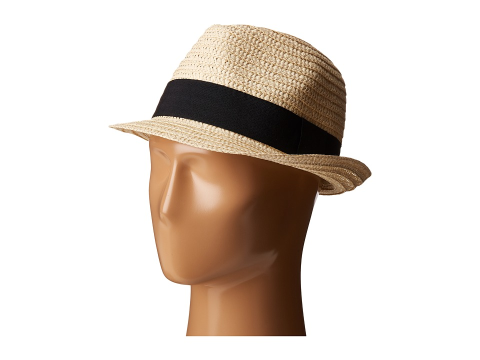 San Diego Hat Company UBF1018 Solid Paper Braid Fedora with Ribbon Trim (Natural) Fedora Hats