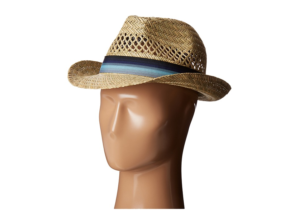 San Diego Hat Company SGF2020 Seagrass Fedora Hat with Ombre Striped Band (Natural) Fedora Hats