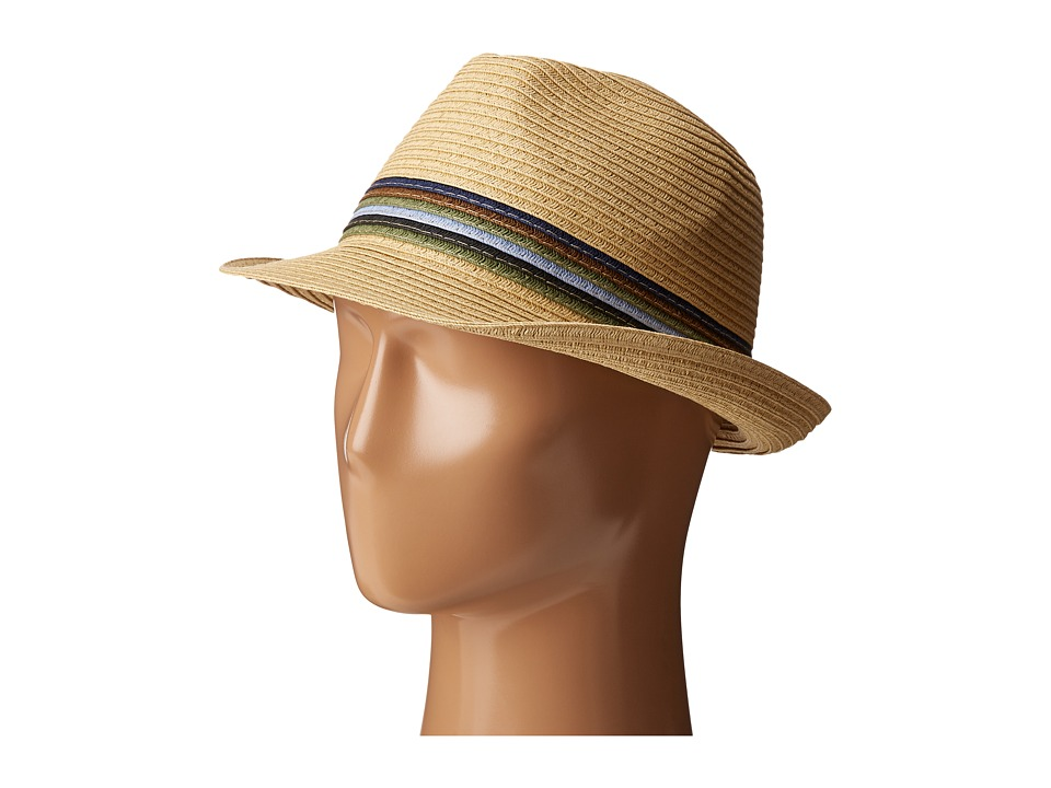 San Diego Hat Company - UBF1019 Paper Braid Fedora Hat with Multicolor Inset Around Crown (Natural) Fedora Hats