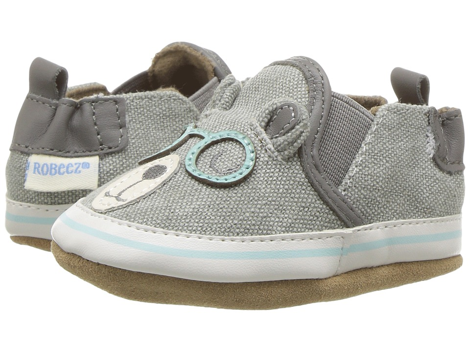 Robeez Brainy Bear Soft Sole (Infant/Toddler) (Grey) Boys Shoes