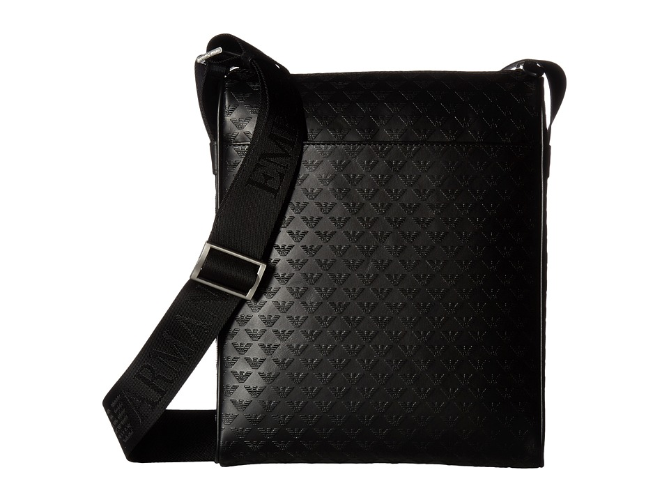 Emporio Armani Quilted Port Bag (Black) Messenger Bags