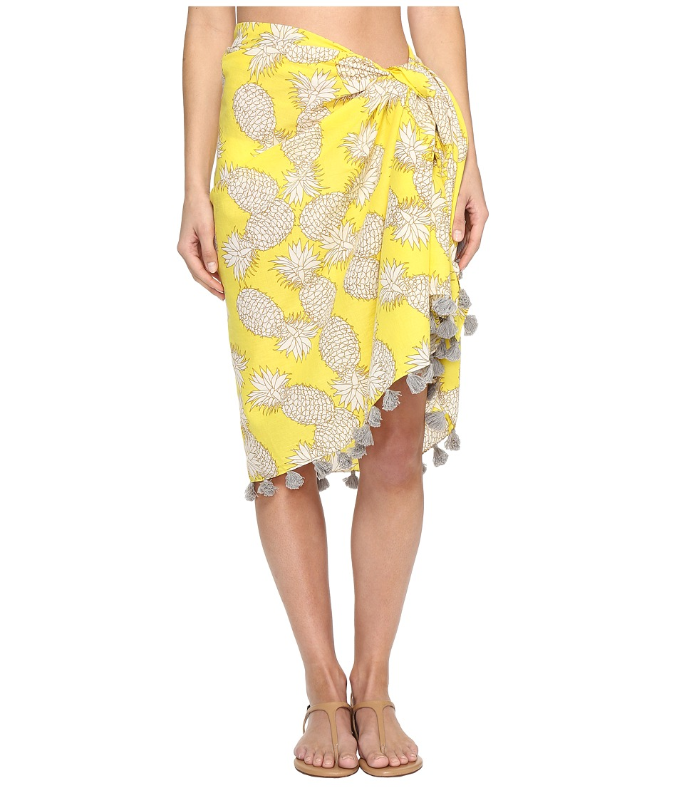 San Diego Hat Company - BSS1718 Woven Cotton All Over Pineapple Print Sarong with Tassels (Yellow Pineapple) Womens Swimwear