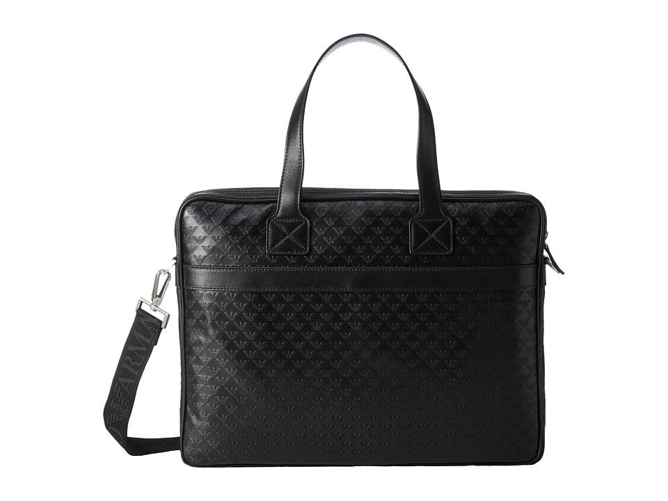 Emporio Armani Quilted Briefcase (Black) Briefcase Bags