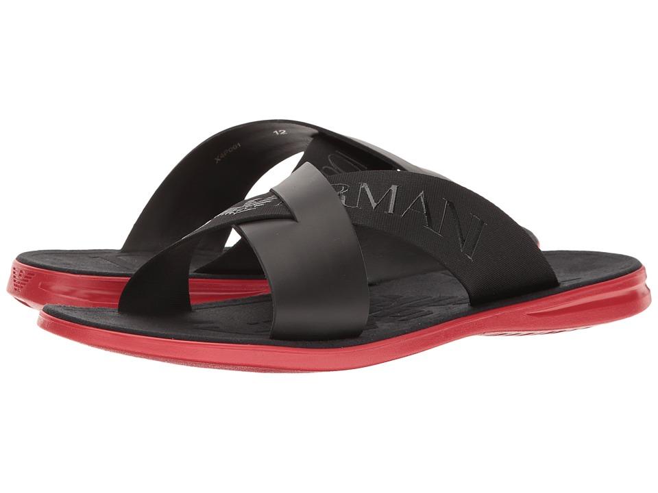 Emporio Armani Logo Slide Sandal (Black) Men
