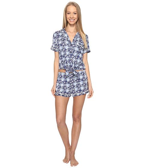 Lucky Brand Notch Collar Short Pajama Set - Deco Floral Navy