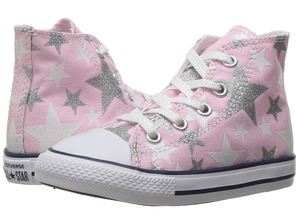 Converse Kids Chuck Taylor All Star Hi (Infant/Toddler) (Fairy Tale/White/Silver) Girls Shoes