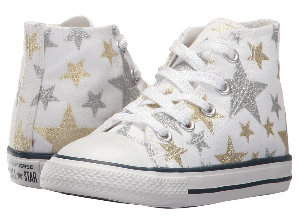 Converse Kids Chuck Taylor All Star Hi (Infant/Toddler) (White/Silver/Gold) Girls Shoes