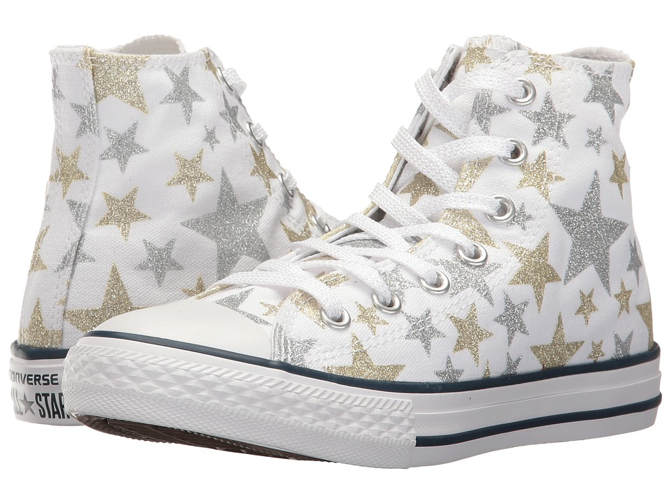 Converse Kids Chuck Taylor All Star Hi (Little Kid) (White/Silver/Gold) Girls Shoes