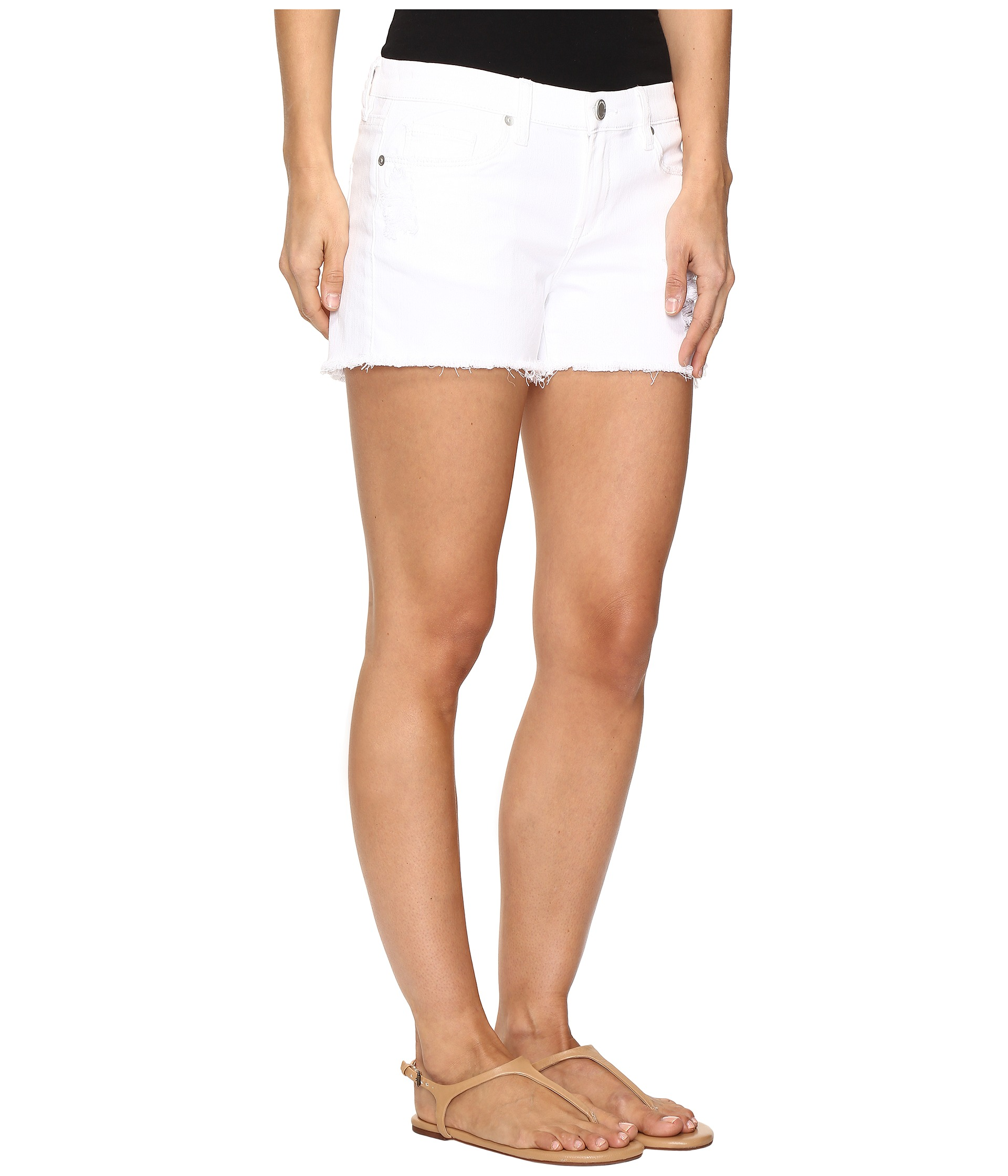 Blank NYC Distressed White Shorts in White Lines at Zappos.com