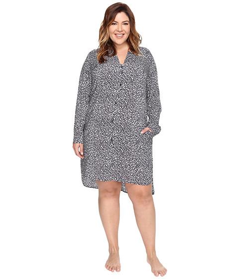 DKNY Plus Size Long Sleeve Shirtdress - Grey Print