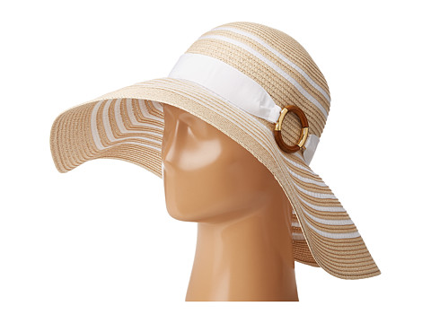 LAUREN Ralph Lauren Bright & Natural Sun Hat - Natural/White