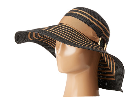 LAUREN Ralph Lauren Bright & Natural Sun Hat - Black/Khaki