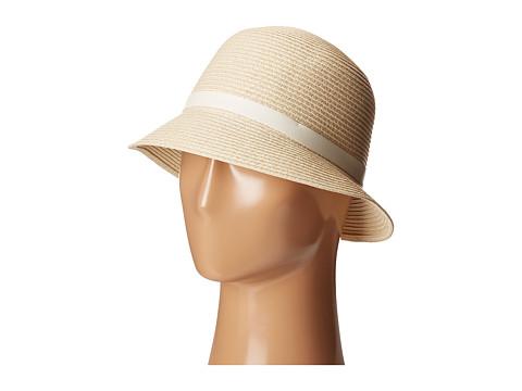LAUREN Ralph Lauren Cloche Hat w/ Leather Belt - Natural/Cream
