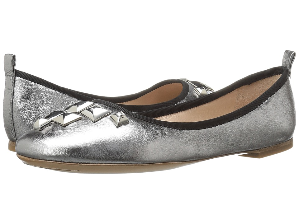 Marc Jacobs Cleo Studded Ballerina (Dark Silver Leather) Women