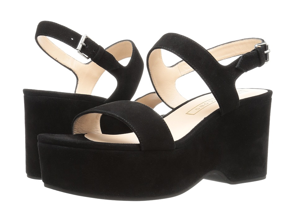 Marc Jacobs Lily Wedge Sandal (Black Suede) Women