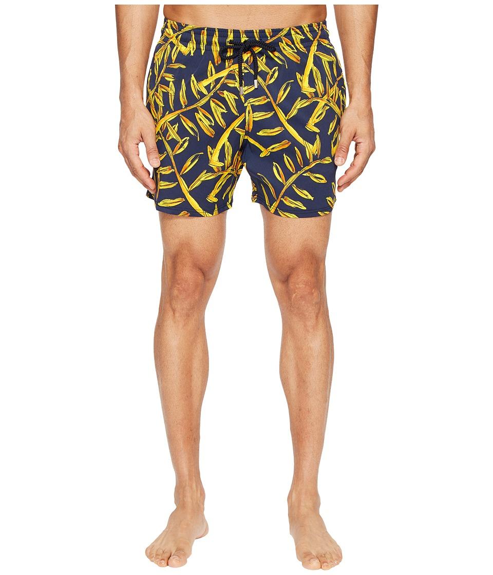 Vilebrequin Moorise Superflex Gold Palms Swim Trunk (Navy/Gold) Men