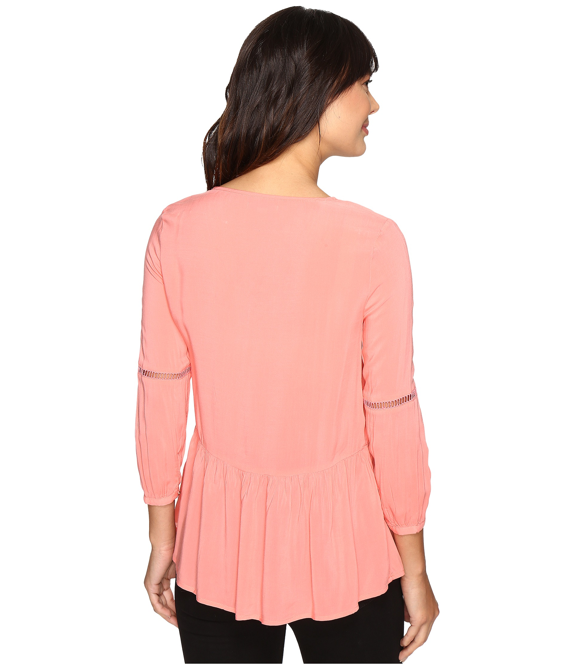 Calvin klein jeans pleated drop waist peasant blouse shell pink