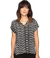 Calvin Klein Jeans - Printed Leather Lattice V-Neck Blouse
