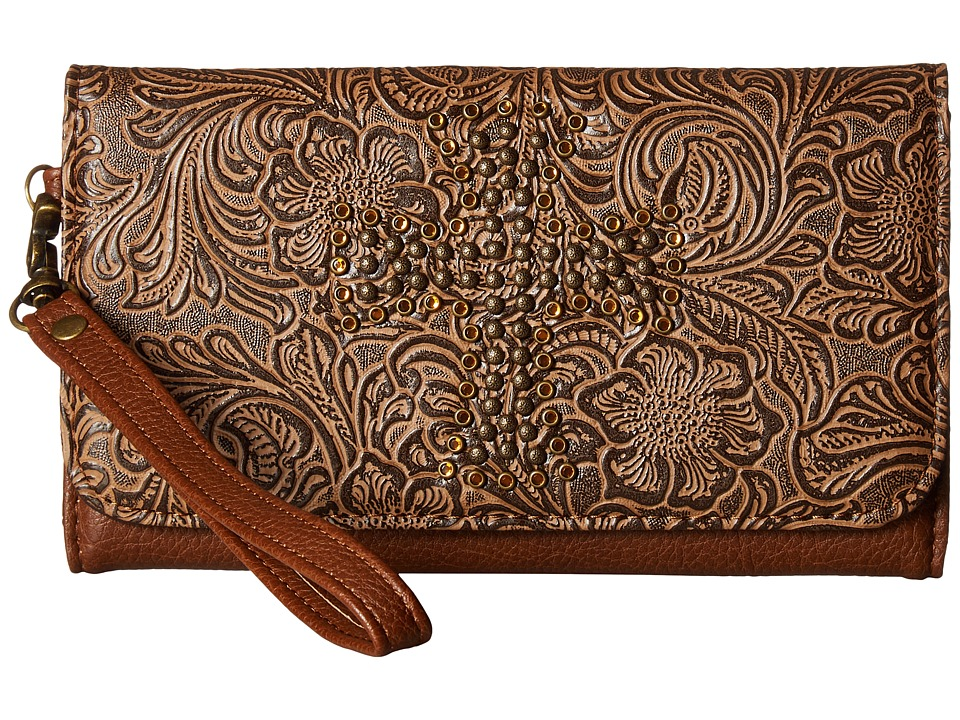 M&F Western - Nina Clutch (Tan) Clutch Handbags