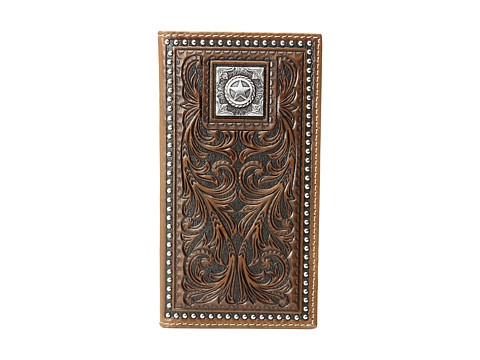 M&F Western Scroll Nailhead Rodeo Wallet - Brown