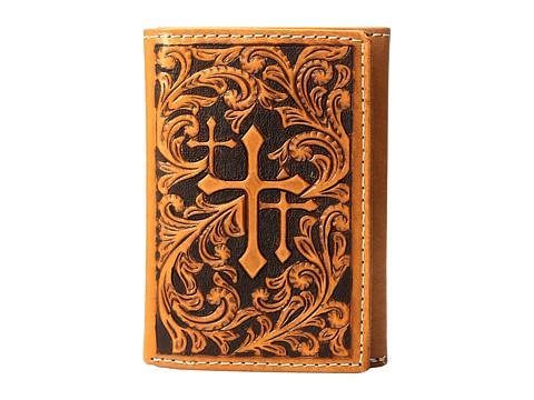 M&F Western Scroll Embossed 3 Crosses Trifold Wallet - Tan