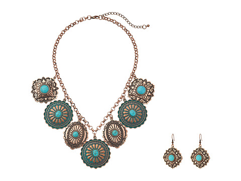 M&F Western Dangle Disc Necklace/Earrings Set - Copper/Patina