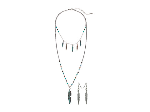 M&F Western Mixed Metal Feather Long Necklace/Earrings Set - Silver/Copper/Bronze