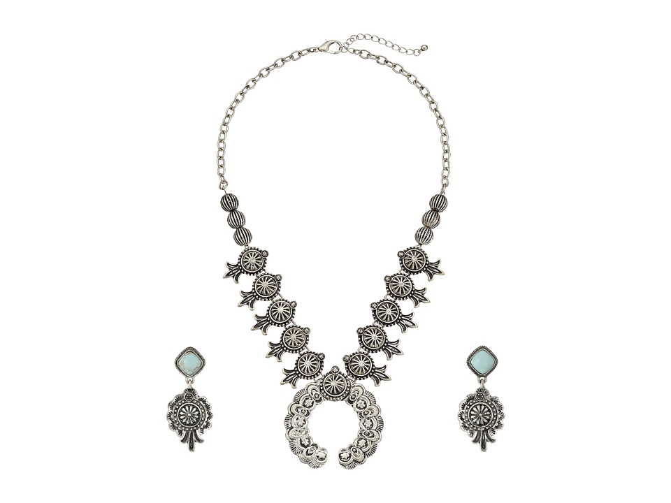 M&F Western - Etched Squash Blossom Necklace/Earrings Set (Silver) Jewelry Sets