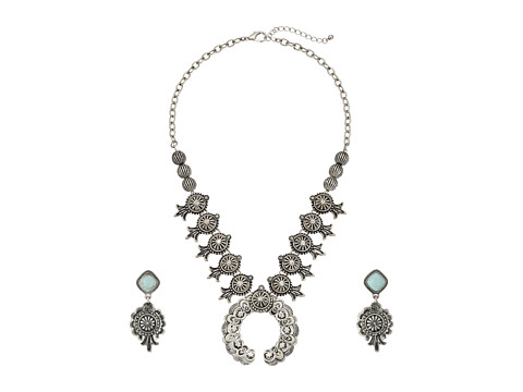 M&F Western Etched Squash Blossom Necklace/Earrings Set - Silver