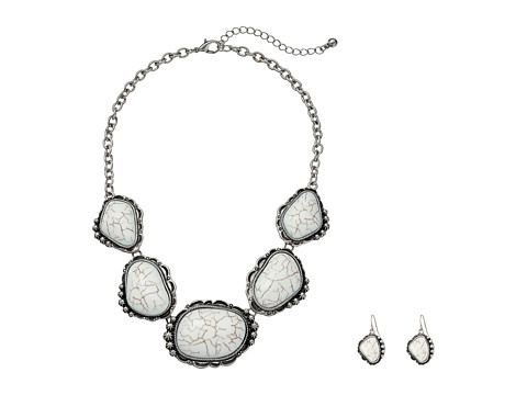 M&F Western Large Stone Necklace/Earrings Set - White