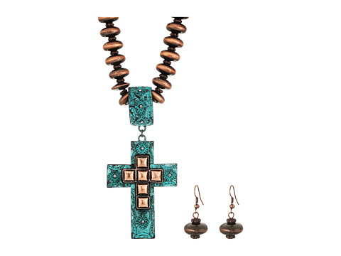 M&F Western Copper Beaded Cross Necklace/Earrings Set - Copper