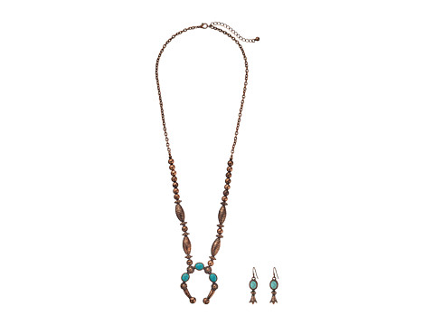 M&F Western Beaded Squash Blossom Necklace/Earrings Set - Copper