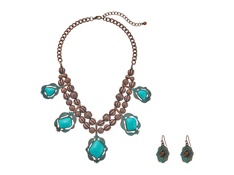 M&F Western Hanging Turquoise Necklace/Earrings Set - Patina