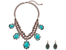 M&F Western Hanging Turquoise Necklace/Earrings Set
