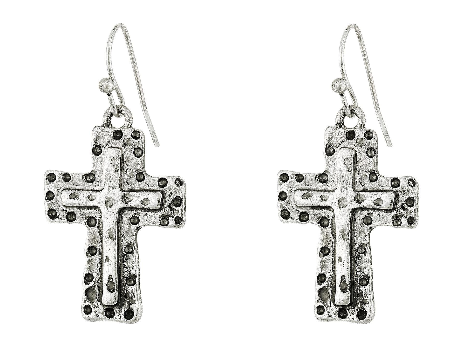 m f western hammered cross bracelet earrings set at zappos