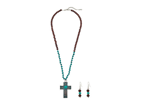 M&F Western Turquoise Beads Patina Cross Necklace/Earrings Set - Patina