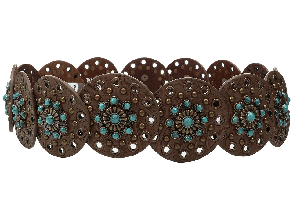 M&F Western - Nocona Wide Concho Disk Belt (Brown/Turquoi...