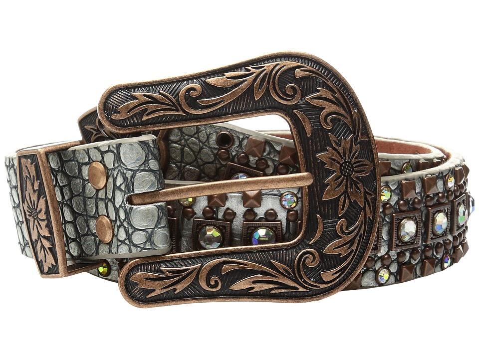 M&F Western - Croco Copper Nailhead Belt (Silver/Copper) ...