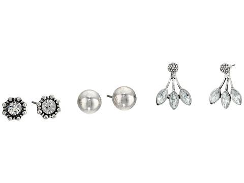 M&F Western Blazin Roxx 3-Pair Earrings Set - Silver Studs/Crystal Ear Jacket