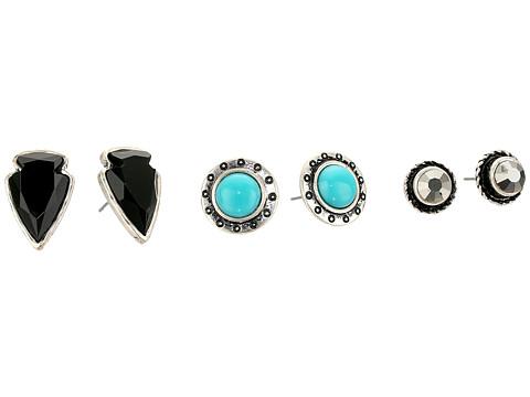 M&F Western Blazin Roxx 3-Pair Earrings Set - Turquoise/Silver/Black Arrowhead