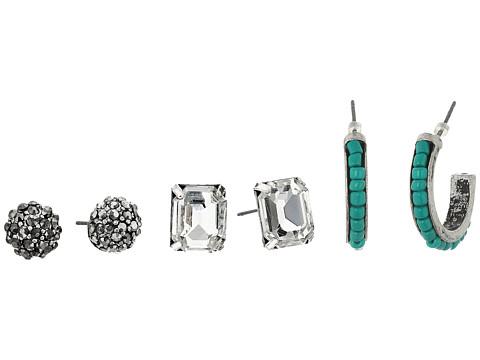 M&F Western Blazin Roxx 3-Pair Earrings Set - Crystal/Rhinestone Flower/Turquoise Hoop