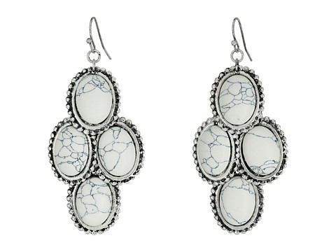 M&F Western Stone Drop Earrings - White