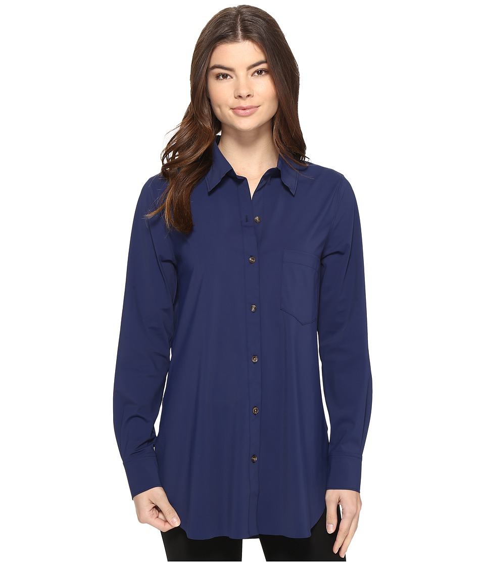 Lysse Schiffer Stretch Microfiber Button Down (Midnight) Women