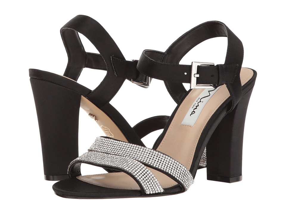 Nina Sylvie (Black Luster Satin) High Heels