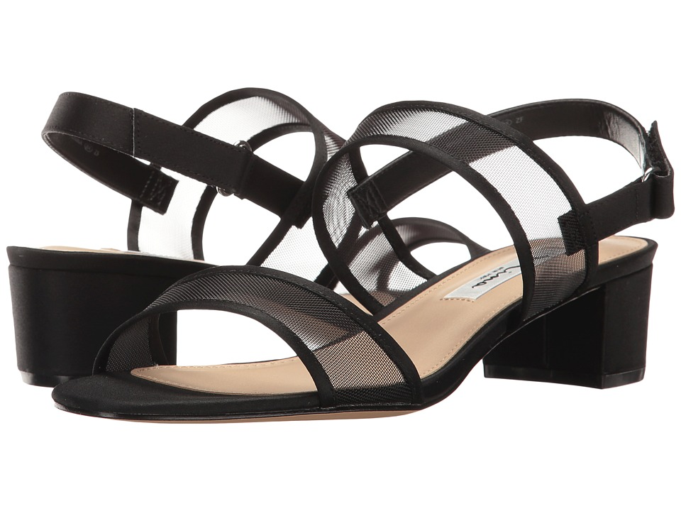 Nina - Ganice (Black Luster Satin/Mesh) Women's Sandals
