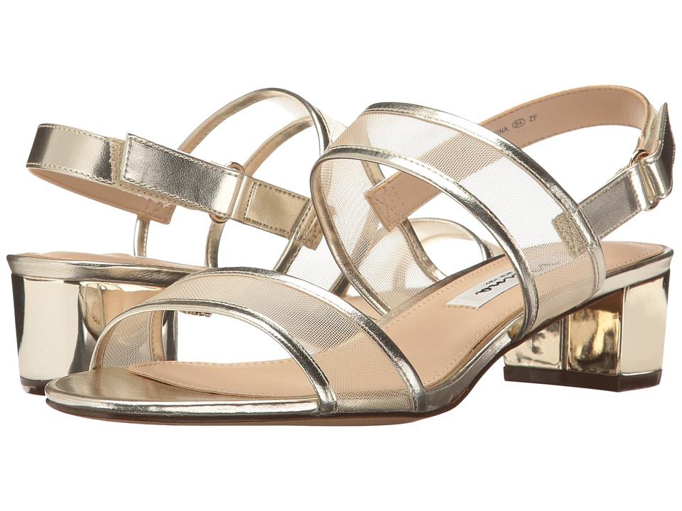 Nina Ganice (White Gold Metal Foil/Mesh) Sandals