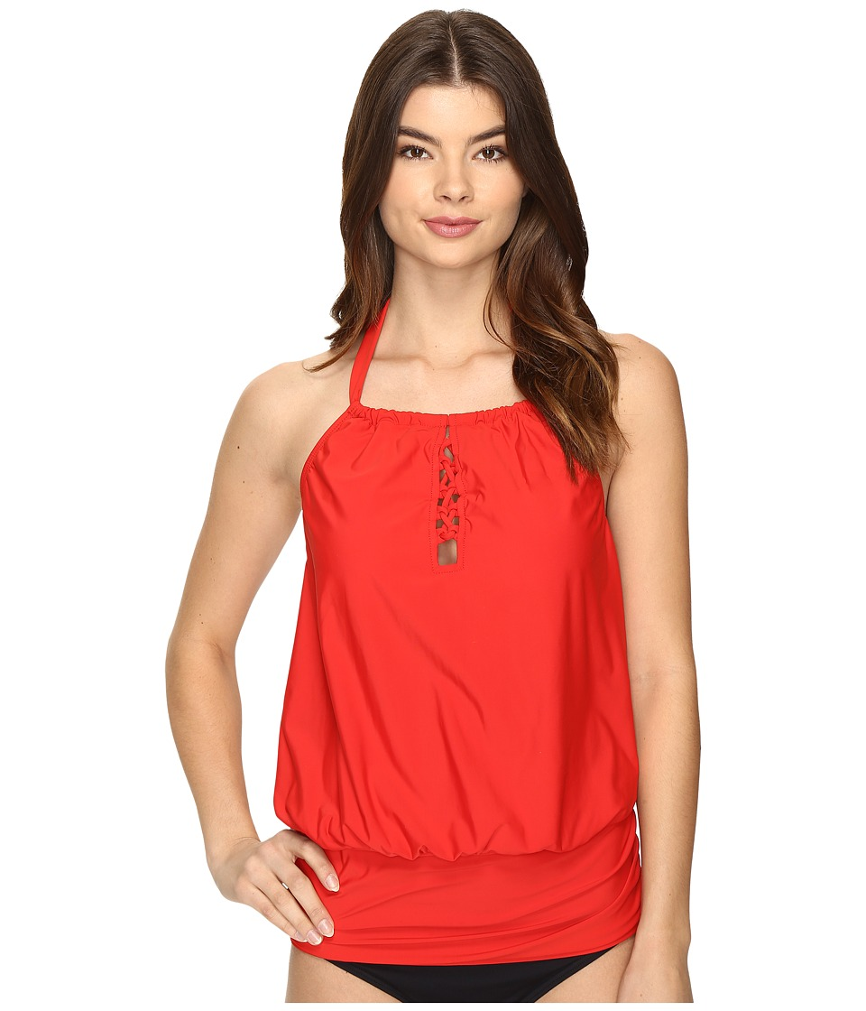 Image of Athena - Cabana Solids Cailyn High Neck Tankini Top (Persimmon) Women's Swimwear